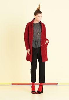 Cappotto sfoderato in lana cotta bicolore. Linea comoda e tasche a toppa | #ottodAme #FW15