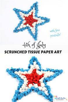 Summer is here and it is time for some of July crafting. This scrunched tissue paper art is a wonderful activity for kids of all ages. fantastic fine motor activity for your little ones and a perfect boredom buster too. Patriotic Crafts, July Crafts, Art Crafts, Easy Crafts To Sell, Diy Crafts For Kids, Toddler Crafts, Paper Flower Backdrop, Paper Flowers Diy, Tissue Paper Crafts