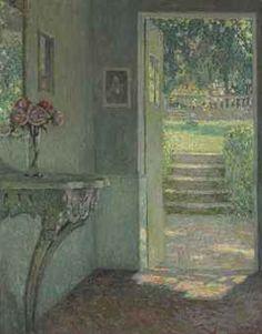 Henri Le Sidaner (1862-1939)  La porte du jardin, La console  signed 'Le Sidaner' (lower right)  oil on canvas 36¼ x 28¾ in. (92 x 73 cm.)