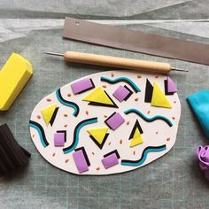 """Katrilee Designs on Instagram: """"I decided to do a little 80's inspired Saved By The Bell slab today. #tbt  I love a bit of nostalgia so I'm really excited to see how these…"""" Cute Polymer Clay, Polymer Clay Crafts, Polymer Clay Jewelry, Diy Clay Earrings, Saved By The Bell, Clay Tutorials, Handmade Pottery, Clay Creations, Handmade Accessories"""