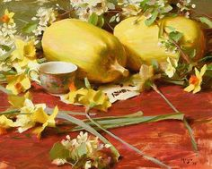 Yellow Squash With Blossoms - Oil by Daniel J. Keys