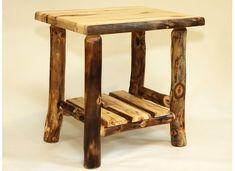 Amish Rustic Log Coffee Table Solid Aspen Slab Wood Cabin Lodge Furniture New