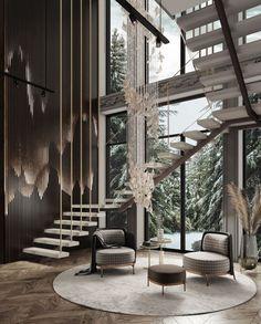 Home Stairs Design, Home Room Design, Dream Home Design, Modern House Design, Stair Design, Modern Houses, Design Bedroom, Design Kitchen, Dream House Interior