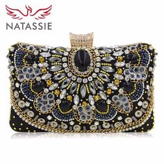9a6056bdd98f Brand Name: NATASSIE - Item Type: Handbags - Style: European and American  Style - Handbags Type: Day Clutches - Decoration: Diamonds,Beading,Chains  ...