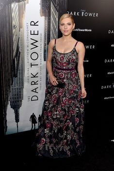 Katheryn Winnick Embroidered Dress - Katheryn Winnick got glammed up in a floral-embroidered burgundy gown by Marchesa that she wore with heels by Schutz for the New York premiere of 'The Dark Tower.'