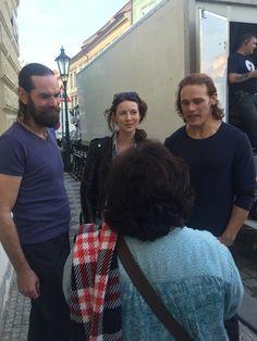 filming Prague 2015 ,Caitriona Balfe, Sam Heughan and Duncan Lacroix