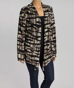 Love this Gray & Black Animal Stripe Open Cardigan - Plus on #zulily! #zulilyfinds
