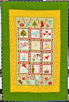 12 Days of Christmas Quilt Christmas Quilting, Stippling, 12 Days Of Christmas, Make It Through, Holiday Ideas, Blankets, Cross Stitch, Quilts, Sewing