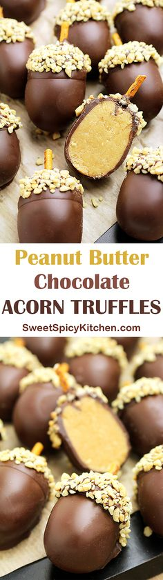 Peanut Butter Chocolate Acorn TrufflesLooking for a perfect fall dessert? I was going through my cook book and found this recipe that I would like to share with you – Peanut Butter Chocolate Acorn Truffles ♥ Köstliche Desserts, Delicious Desserts, Dessert Recipes, Yummy Food, Tasty, Health Desserts, Candy Recipes, Fall Recipes, Holiday Recipes