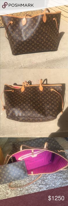 Louis Vuitton NEVERFULL GM I love this bag! The largest of the NEVERFULL family. Raspberry interior. Purchased in Hollywood at the LV store comes with pouch. Virtually no wear Louis Vuitton Bags Totes