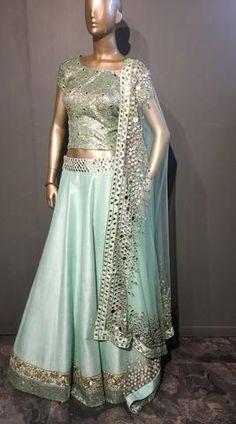 Shop for Designer Saree, Wedding Lehenga, Salwar Suit Muslim Wedding Dresses, Indian Wedding Outfits, Bridal Outfits, Indian Outfits, Indian Clothes, Green Lehenga, Lehenga Choli, Anarkali, Sarees