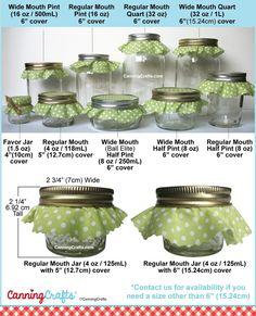 Colorful Adhesive Canning Jar Labels: Canning Jar Label and Cloth Topper Size Chart Mason Jar Sizes, Wide Mouth Mason Jars, Mason Jar Diy, Jam Jar Labels, Canning Jar Labels, Canning Recipes, Canning 101, Canning Jar Storage, Canned Food Storage