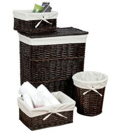Add this Walnut Wicker Basket Set to your bedroom dorm room or bathroom to provide extra storage for various items in the room.