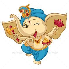 Buy Ganesha Elephant Cartoon Baby Vector Illustration by vectorpouch on GraphicRiver. Ganesha elephant cartoon vector illustration for traditional Hindu festival. Isolated happy baby Ganesha elephant in . Arte Ganesha, Ganesha Sketch, Ganesha Drawing, Lord Ganesha Paintings, Shri Ganesh, Bal Hanuman, Ganesha Rangoli, Durga Maa, Baby Ganesha