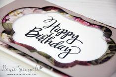 zauberhafte Stickrahmen Stampin' Up! Happy Birthday DSP Blütenpracht Stampin Up, Happy Birthday, Cards, Wedding Day, Birthday, Happy Brithday, Urari La Multi Ani, Stamping Up, Map