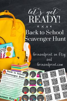 An easy and quick set up Scavenger Hunt for a Back to School Party or First Day of School Activity. Print the Back to School Game and search for Back to School Supplies.  Don't forget to check out all of our Back to School Games for Parents and Teachers in our shop at Grinandprint on Etsy.  Get rid of the First Day Jitters with some Back to School Party Ideas for Kids or Home School Teachers. #backtoschoolparty #backtoschoolideas #schoolparties #firstdayofschool #schoolactivities… School Games For Kids, First Day Of School Activities, Christmas Activities For Kids, Craft Activities For Kids, Kids Crafts, Back To School Party, School Parties, School Fun, School Stuff