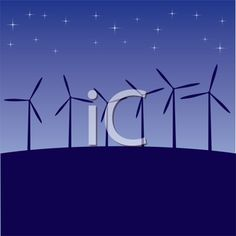 iCLIPART - Royalty Free Clipart Image of Windmills at Night