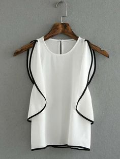 Graceful Flounce Round Collar Sleeveless Blouse For Women