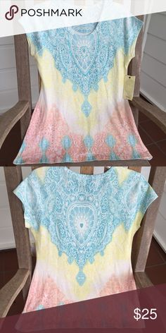 Reba Sparkle and Bling Top So cute and perfect for summertime! Excellent Condition (NWT). Cute paired with jeans or skimmers. Beautiful pastel summer colors. No Trades. TB1137. Reba Tops