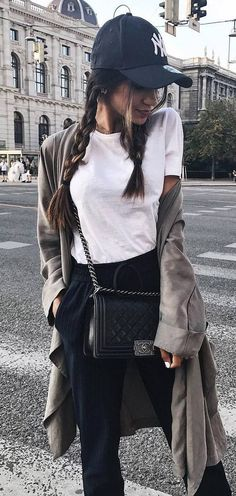 casual style perfection / hat + white t shirt + cardi + bag + pants