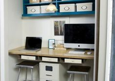 Solutions for working at home with loud construction noise next door. #homeoffice #closetoffice