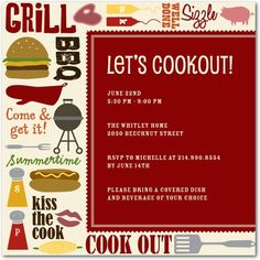Party Invitations Cookout Collage - Front : Spanish Red