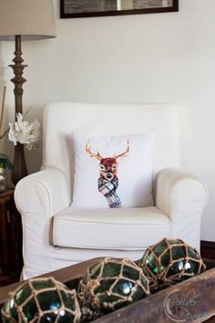 Deer Pillow by @craftberrybush in our Living Room for Christmas.