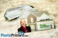 """Our 7900 Plastic Card is a 3.375"""" x 2.1"""" House Shaped Card. It is available in full color with no printing on the back 4/0, or printing or barcoding on the back 4/4. - See more at: http://www.plasticprinters.com/die-cut-cards/Custom_Plastic_Card.aspx?ID=166#sthash.NUEXxLSt.dpuf"""