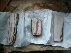 (Left to Right) Pancetta, Guanciale and Lardo