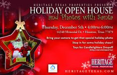 Families in the Memorial, Royal Oaks and West Houston areas, make plans to join #HeritageTexas on thursday, December 5th from 4-6pm for the annual Heritage Texas Properties Holiday Open House & Photos With Santa!