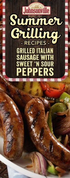 You'll love the combination of grilled Johnsonville Italian Sausages and Sweet and Sour Peppers. Eat them as a main dish or on a bun as a sandwich. Sausage Sandwich Recipes, Brats Recipes, Sausage Sandwiches, Grilled Recipes, Grilled Italian Sausage, Italian Sausages, Italian Sausage Recipes, Sausage And Peppers, Stuffed Peppers
