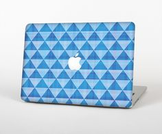 """The Vintage Blue Striped Triangular Pattern V4 Skin Set for the Apple MacBook Pro 15"""" with Retina Display from Design Skinz"""