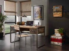 Skrivebord: Kolleksjon URBAN FACTORY Différents Styles, Shops, Wood Steel, Rustic Industrial, Rustic Design, Office Desk, Corner Desk, Entryway Tables, Vanity