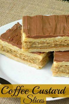 How to make quick Coffee Custard Slices using Puff Pastry #CoffeeCustard #SweetTreats