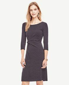 Image of Pinstripe Ponte Twist Dress