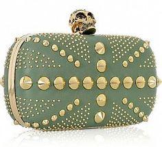 Alexander McQueen Brittania Punk Leather Box Clutc — $1640
