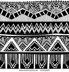 stock-vector-black-and-white-tribal-vector-seamless-pattern-with-doodle-elements-aztec-abstract-geometric-art-415520857.jpg (450×470)