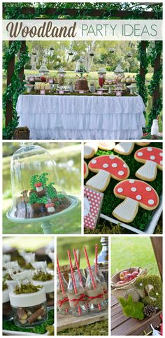 An incredible outdoor Woodland girl birthday party with amazing decorations and treats Fairy Birthday Party, 6th Birthday Parties, Girl Birthday, Outdoor Birthday, Party Outdoor, Birthday Table, Birthday Ideas, Woodland Party, Woodland Forest