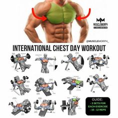 Chest work out Fitness Workouts, Fitness Motivation, Gym Workout Tips, Fitness Tips, Chest Day Workout, Chest Workouts, Chest And Tricep Workout, Chest Exercises, Muscle Fitness