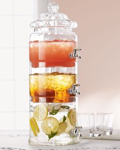 Stacked Optic-Glass Beverage Server, Clear - Neiman Marcus