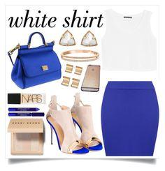 """White shirt"" by kawtar-el ❤ liked on Polyvore featuring Dolce&Gabbana, By Terry, MANGO, WearAll, Kendra Scott, Swarovski, Giuseppe Zanotti, Bobbi Brown Cosmetics, NARS Cosmetics and Maison Margiela"