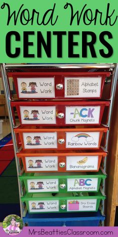 Looking for word work ideas? The centers in this blog post are easy to set up and will work with ANY word list all year long! 1st Grade Centers, Abc Centers, Spelling Centers, Daily 5 Centers, Word Work Centers, Word Work Stations, Phonics Centers, Reading Centers, Reading Center Ideas