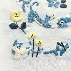 いいね!945件、コメント14件 ― annas/アンナスさん(@annastwutea)のInstagramアカウント: 「『猫だらけ』アップルミンツのもう一枚の刺繍。 ・ ・ #刺繍 #手刺繍 #ネコスタグラム #にゃんすたぐらむ #ニャンスタグラム #ネコ部 #ねこ部 #ねこら部 #ねこラブ #にゃんこ…」