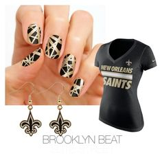 """""""Brooklyn Beat is perfect for Saints fans! Get game- ready this season with this back and gold set <3"""" by kimmiejarrett on Polyvore featuring NIKE"""