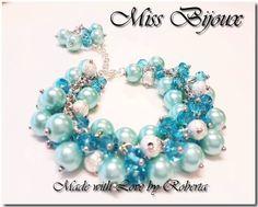 "BRATARA ""CLUSTER ELEGANCE - BLEU"" - COD CE1003 Jewelery, Pearl Necklace, Beaded Bracelets, Elegant, Cod, Bead, Jewerly, Jewlery, String Of Pearls"