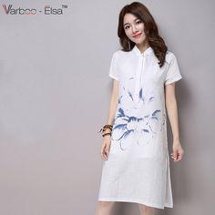 c47db67e30 Aliexpress.com   Buy new arrival summer cotton linen women white dress  retro collar short sleeve hand painted Floral knee length summer Dress  BYX2808 from ...