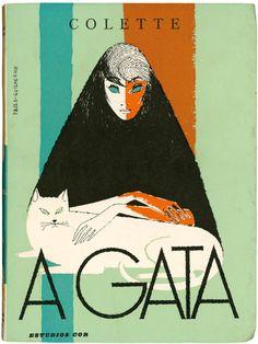 Vintage Portuguese book cover design - A Gata, Colette, Estúdios Cor, design Paulo-Guilherme, 1959 (via livingdeadcovers)