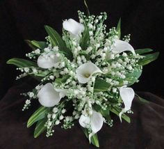2p White Wedding Bouquet Bridal Silk Flowers Calla Lily, Lily of the valley #Wedding #FlowersBouquets