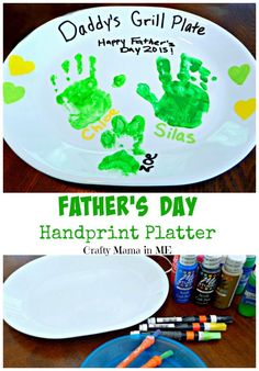 Father's Day Handprint Platter - Crafty Mama in ME! Father's Day Handprint Platter – Crafty Mama in ME! Daddy Gifts, Grandpa Gifts, Gifts For Dad, Fathers Day Presents, Baby Crafts, Toddler Crafts, Crafts For Kids, Kids Diy, Crafty Kids