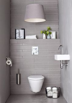 Small Minimalist Bathroom Design: So Can A Comfortable Guest Toilet Design Guest Toilet, Downstairs Toilet, Bathroom Toilets, Laundry In Bathroom, Bathroom Laundry, Bad Inspiration, Bathroom Inspiration, Toilette Design, Toilet Room